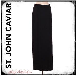 ST. JOHN CAVIAR Black Knit Maxi Skirt NWOT